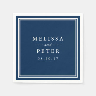 Classic Navy and White Wedding Paper Napkin