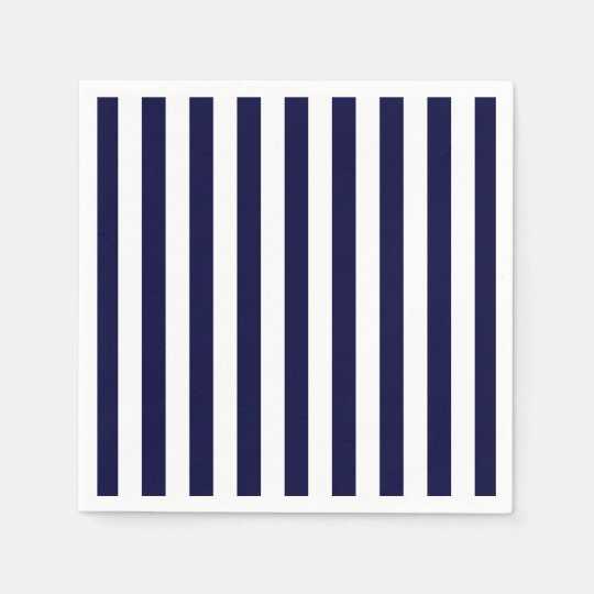 Classic Navy Blue and White Stripe Pattern Disposable Napkin
