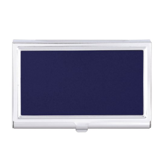 Classic Navy Blue Metal Business Card Case