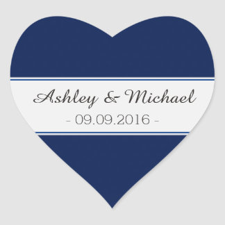 Classic Navy Blue Save the Date Heart Sticker