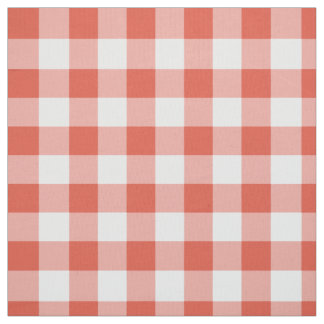 Classic Orange and White Gingham Plaid Fabric