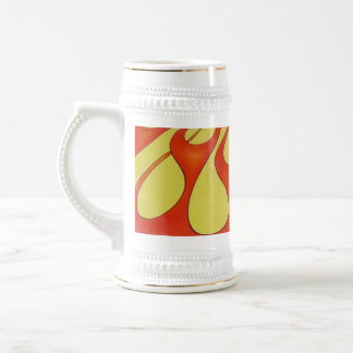 Classic orange flames and yellow background beer stein