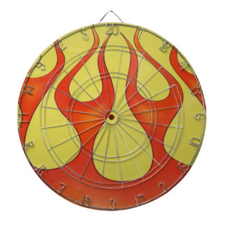 Classic orange flames and yellow background dartboard