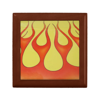 Classic orange flames and yellow background gift box
