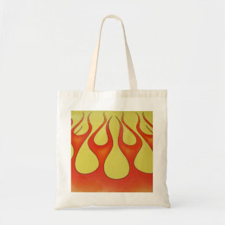 Classic orange flames and yellow background tote bag