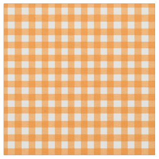 Classic Orange Gingham Checked Pattern Fabric