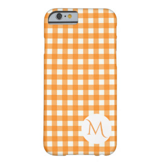 Classic Orange Gingham Checkered Pattern Monogram Barely There iPhone 6 Case