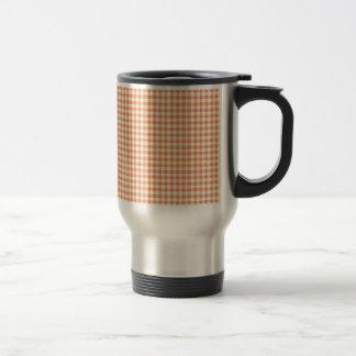 Classic Orange Picnic Gingham 15 Oz Stainless Steel Travel Mug