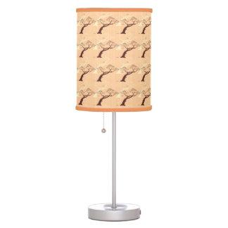 Classic oriental japanese bonsai tree bird stripes table lamp