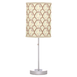 Classic pastel oriental peacock japanese pattern table lamps