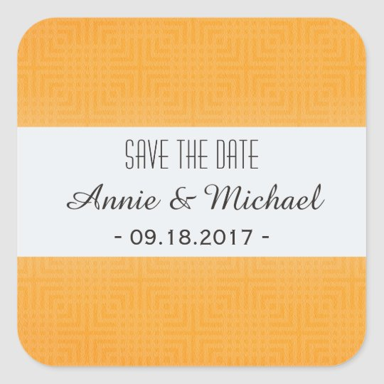 Classic Pattern -Gold- Save the Date Square Sticker