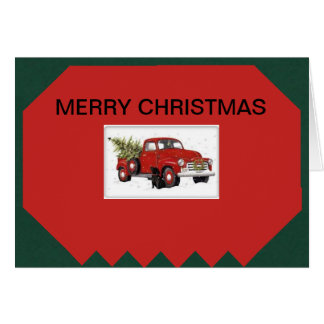 Classic pick up truck on a Christmas Card