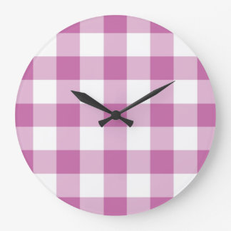 Classic Pink And White Checked Gingham Pattern Large Clock