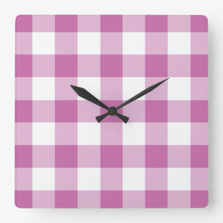 Classic Pink And White Checked Gingham Pattern Square Wall Clock