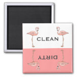 Classic Pink Flamingo Clean Dirty Dishwasher