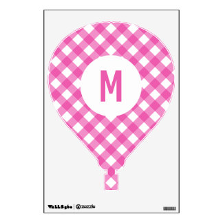 Classic Pink Gingham Monogram Wall Decal