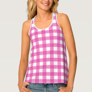 Classic Pink Gingham Tank Top