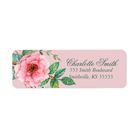 Classic Pink Peony Feather Floral Design Return Address Label