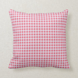 Classic Pink Picnic Gingham Throw Pillow