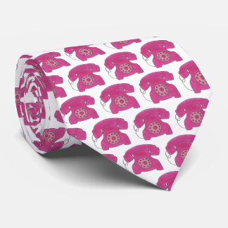Classic Pink Retro Rotary Dial Phone Telephone Tie