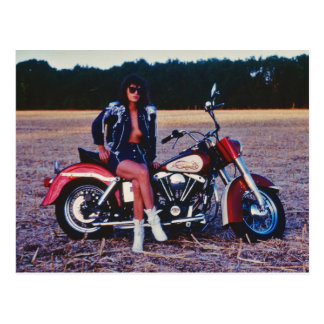 Classic Pinup Girl On A Motorcycle Postcard
