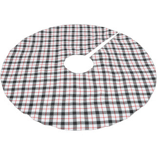 Classic Plaid Christmas Tree Skirt Red Black White