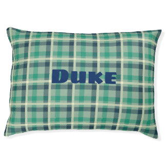 Classic Plaid Custom Cozy Dog Pillow. Pet Bed