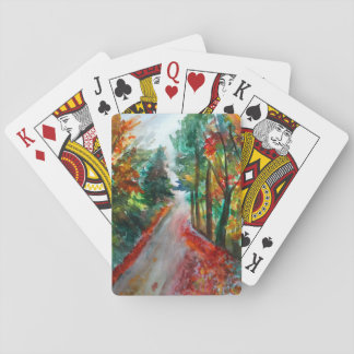 Classic Playing Cards Autumn Landscape  Watercolor