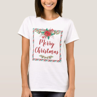 Classic Poinsettia Christmas Holiday T-Shirt
