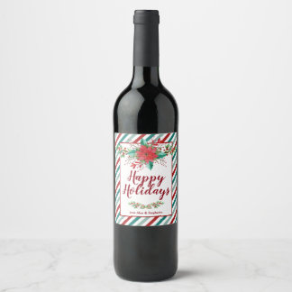 Classic Poinsettia Christmas Holiday Wine Labels