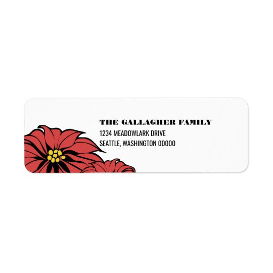 Classic Poinsettia Holiday Return Address Label