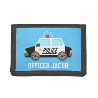Classic Police Car with Siren For Kids Tri-fold Wallets
