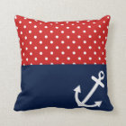 Classic Polka Dot Nautical Love Throw Pillow
