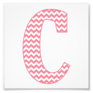 Classic Preppy Pink Chevron Letter C Monogram Photo Art