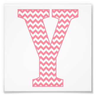 Classic Preppy Pink Chevron Letter Y Monogram Photo Art