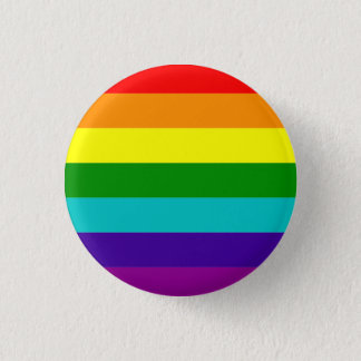 Classic pride flag (with cyan) 1 inch round button