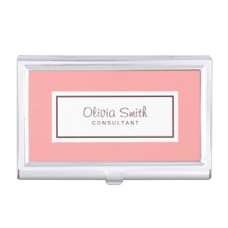 Classic Professional Pastel Pink Business Card Holder