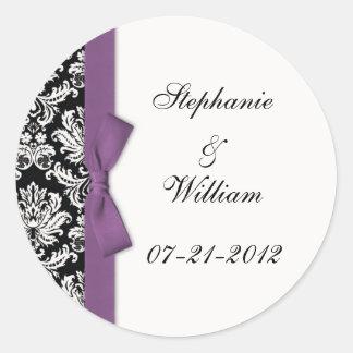 Classic Purple Damask Wedding Label Stickers