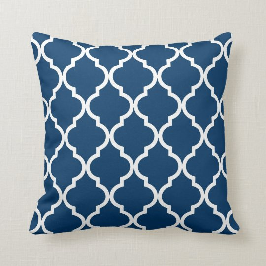 Classic Quatrefoil Pattern Navy Blue and White Throw Pillow