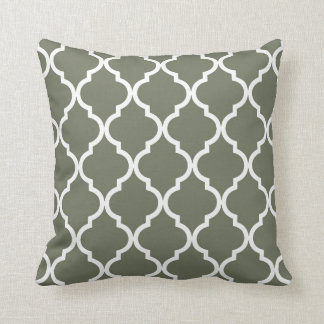 Classic Quatrefoil Pattern Olive Green and White Throw Pillow