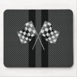 Classic Racing Flags Stripes in Carbon Fibre Style Mouse Pad