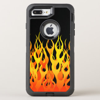 Classic Racing Flames Decor on a OtterBox Defender iPhone 8 Plus/7 Plus Case