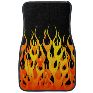 Classic Racing Flames Fire on Black Car Carpet