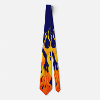Classic Racing Flames Fire on Navy Blue Tie