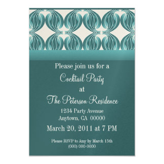 """Classic Radiance Cocktail Party Invite, Teal 5"""" X 7"""" Invitation Card"""