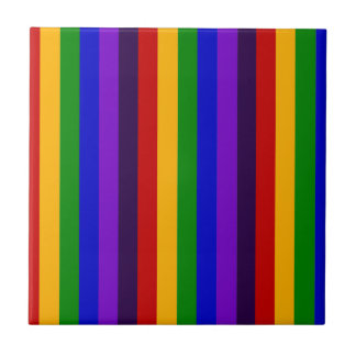 Classic Rainbow Vertical Stripes Colorful Gifts Ceramic Tile