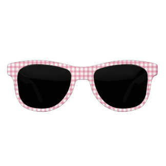 Classic Raspberry Pink Gingham Check Pattern Sunglasses