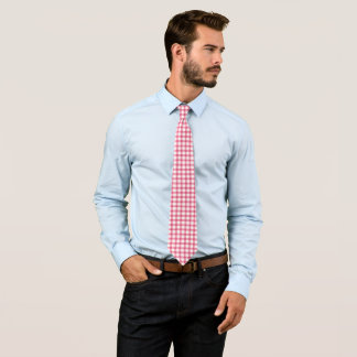 Classic Raspberry Pink Gingham Check Pattern Tie
