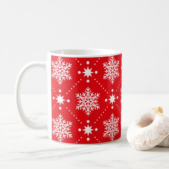 Classic Red and White Snowflakes Christmas Pattern Coffee Mug