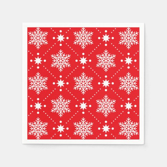 Classic Red and White Snowflakes Christmas Pattern Paper Napkin